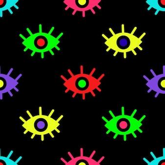 Levendige vector illustratie naadloze kleurrijke patroon met veelkleurige ogen chaotisch afgebeeld op b...