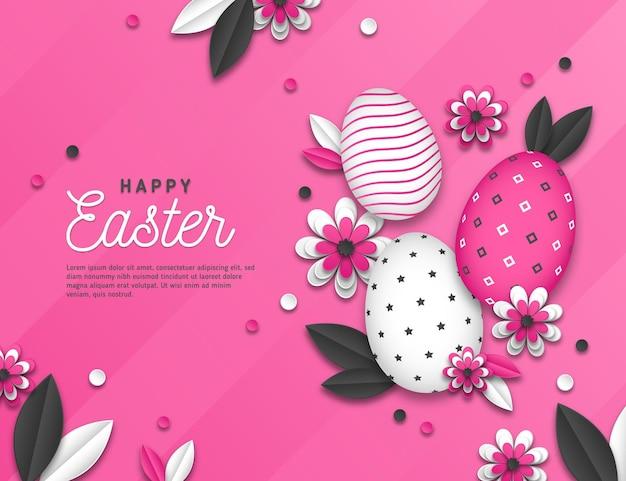 Levendige zwart-wit pasen-illustratie in document stijl met eieren