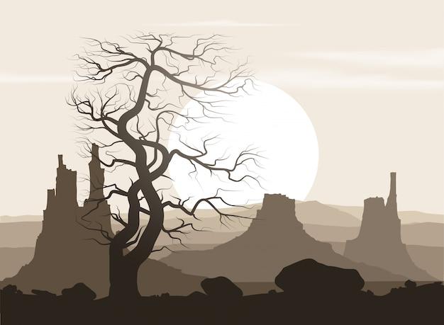 Levenloos landschap met oude reusachtige boom en bergen over zonsondergang.