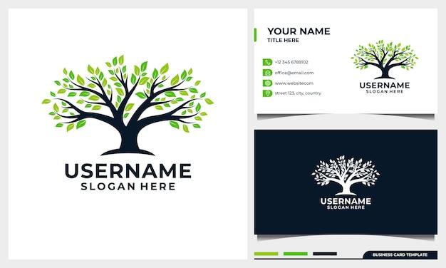 Levensboom logo ontwerp natuur boom illustratie met sjabloon voor visitekaartjes