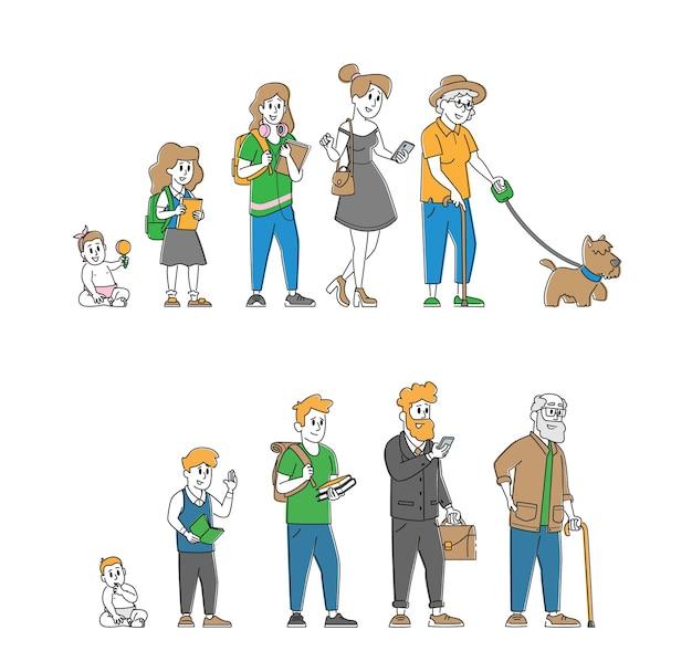 Levenscyclus van menselijke leeftijd, mannelijke en vrouwelijke karakters