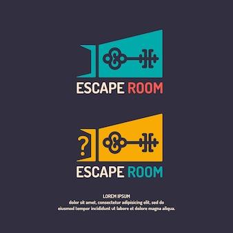 Levensechte ontsnapping uit de kamer. het logo voor de gastenkamer.