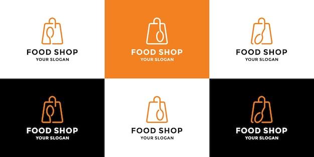 Levensmiddelenwinkel, online eten, logo-ontwerpcollectie voor bezorgrestaurants