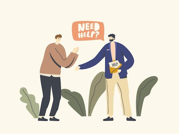 Levensmoeilijkheden en ontberingen illustratie. mannelijk personage in nood vraag vriend om hulp.
