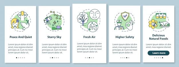Levensomstandigheden op het platteland onboarding mobiele app-paginascherm met concepten