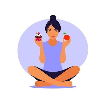 Levensstijl en voedingsconcept. vrouw die tussen gezonde maaltijd en ongezond voedsel kiest.