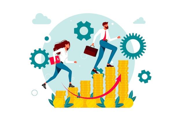 Levensstijl van drukke zakenmensen, zakenlieden. zakenman inhaalslag lopende collega, zakelijke concurrentie. geïsoleerd. werknemers beklimmen de carrièreladder op munten. vector illustratie