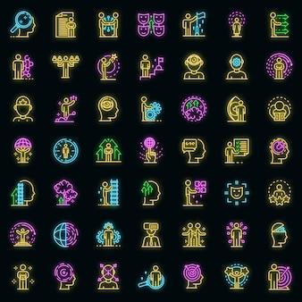 Levensvaardigheden pictogrammen instellen. overzicht set van levensvaardigheden vector iconen neon kleur op zwart Premium Vector