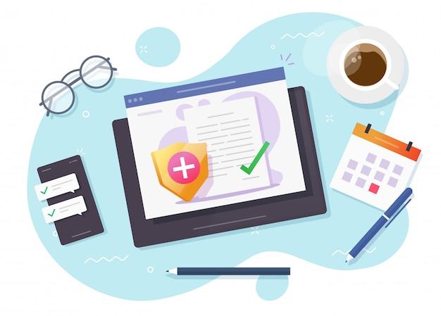 Levensverzekeringen en gezondheidszorg medische dekking elektronisch document online polis vector