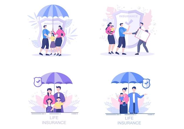 Levensverzekeringen illustraties set