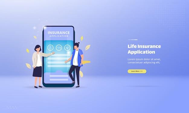 Levensverzekeringen mobiele applicatie op illustratie concept