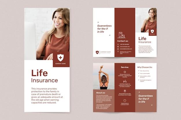 Levensverzekeringssjabloonvector met bewerkbare tekstset