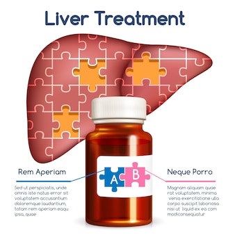 Lever behandeling concept. medische gezondheid mens, fles en puzzel, geneeskunde en orgaan