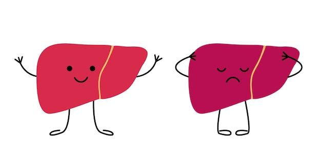 Lever blij gezond en verdrietig lijden zieke karakters ongezonde verdrietige leverpijn ziekte