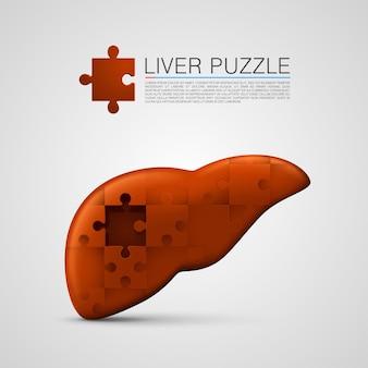 Lever puzzel teken medische kunst. vectorillustratie