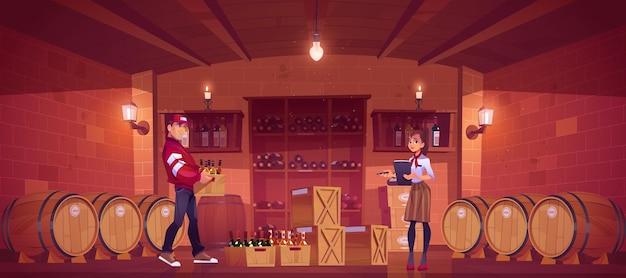 Leverancier levert alcoholproductie in wijnwinkel, verkoopster neemt goederen, inventariseert in kelderinterieur met houten vaten