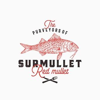 Leveranciers van surmullet logo sjabloon. hand getrokken rode mul vis met stijlvolle retro typografie