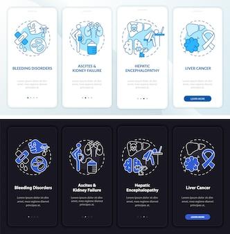 Leverfalen resultaat onboarding mobiele app paginascherm met concepten