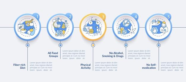 Levergezondheid heeft infographic sjabloon nodig. alle voedselgroepen, geen ontwerpelementen voor de presentatie van medicijnen.