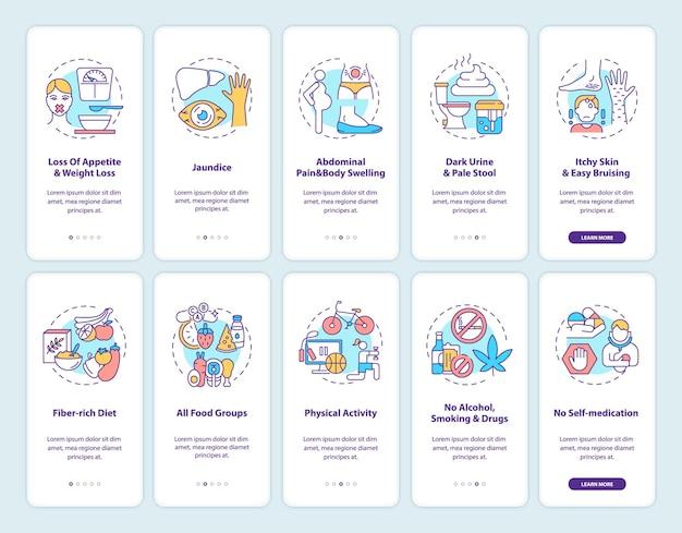 Levergezondheid onboarding mobiele app-paginascherm met ingestelde concepten. symptomen preventie walkthrough 5 stappen grafische instructies.