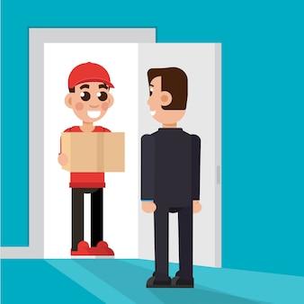 Levering aan de deur. levering man karakter. illustratie.