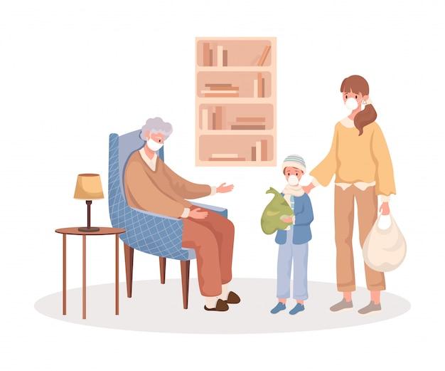 Levering aan oude vrouw. kinderen kwamen naar grootmoeder tijdens een uitbraak van een platte cartoon illustratie van het coronavirus.