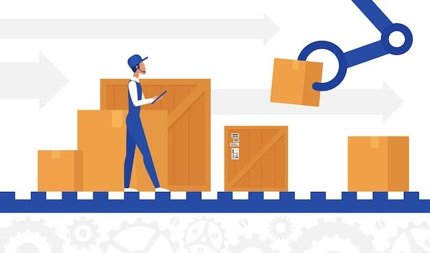 Levering automatisering controle werknemer werkt in magazijn op geautomatiseerde transportband lijn.