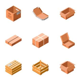 Levering box icon set. isometrische set van 9 bezorgdoos pictogrammen