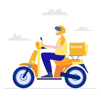 Levering concept. de personenvervoermotorfiets levert abstracte de mensenvector van het dienst vlakke karakter.