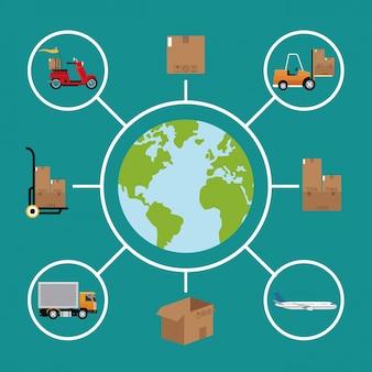 Levering concept wereldwijde logistieke vracht