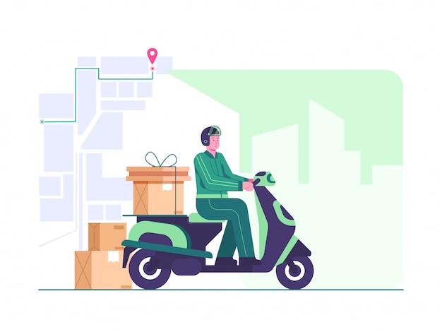 Levering door scooter concept illustratie. koerier volgen via kaarttoepassing. op de manier levering concept illustratie