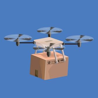 Levering drone met doos. drone vector illustratie grafisch ontwerp. moderne robots leveringsmethoden. geïsoleerd.