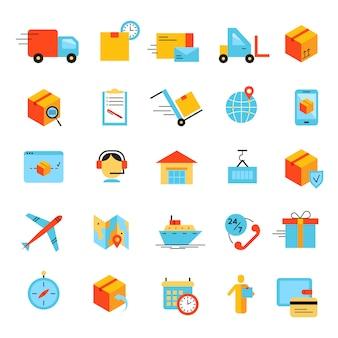 Levering en logistiek pictogrammen