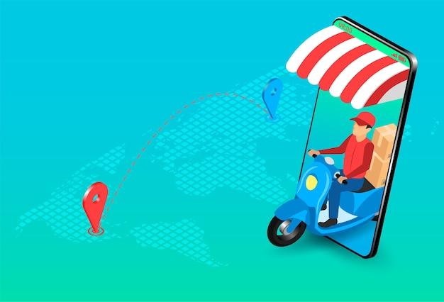 Levering expres door pakketbezorger met scooter via e-commerce systeem op smartphone. isometrisch plat ontwerp.