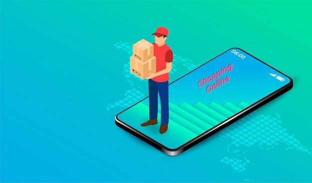 Levering express door pakketbezorger op mobiele applicatie met gps. online eten bestellen en verpakken in e-commerce per website. isometrisch plat ontwerp. illustratie