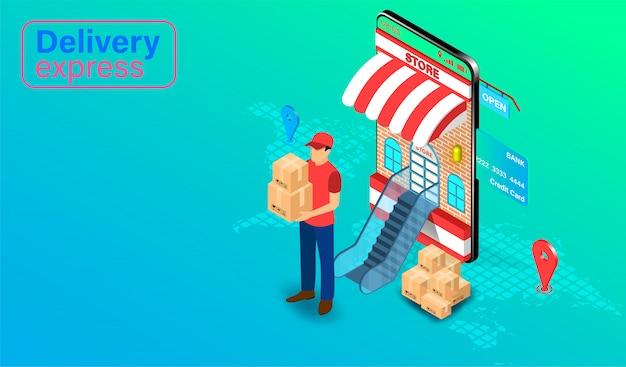 Levering express door pakketbezorger op mobiele applicatie met gps. online eten bestellen en verpakken in e-commerce per website. isometrisch plat ontwerp.