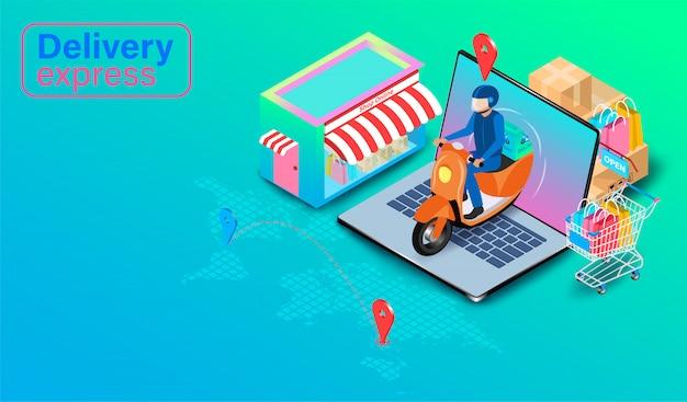 Levering express per scooter op computer laptop met gps. online eten bestellen en verpakken in e-commerce per website. isometrisch plat ontwerp.