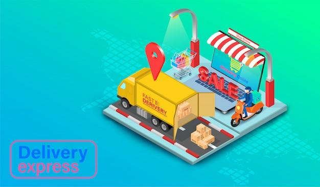 Levering express per vrachtwagen en scooter op computer laptop met gps. online eten bestellen en verpakken in e-commerce per website wereldwijd. isometrisch plat ontwerp.