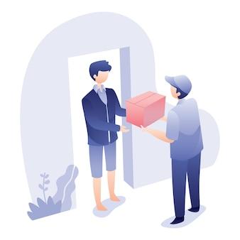Levering illustratie met koerier geeft doos aan ontvanger