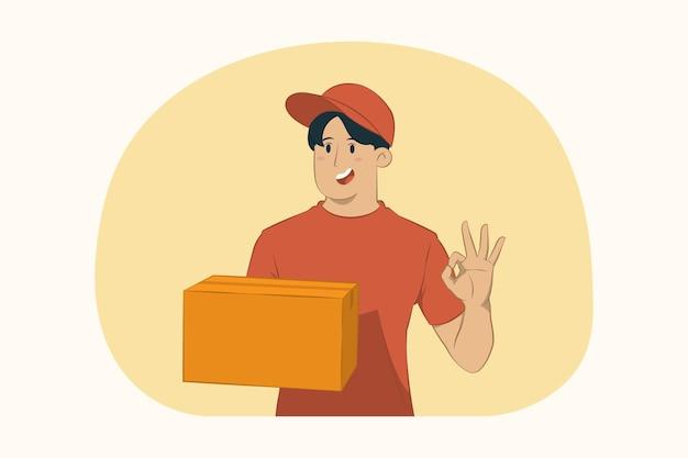 Levering jonge man houdt kartonnen doos ok gebaar