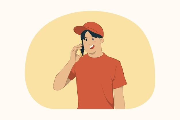 Levering jonge man houdt mobiel