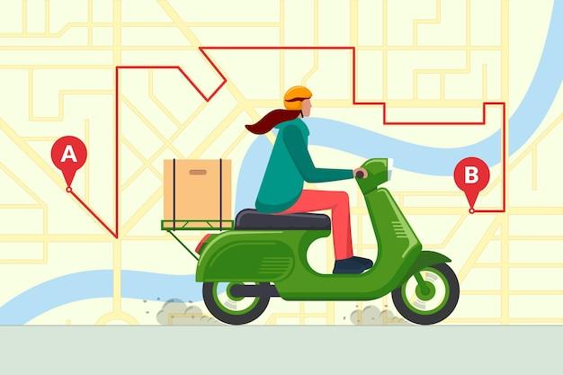 Levering jonge vrouw koerier rijden bromfiets met pakket productdoos. snelle motor scooter verzending dienstverleningsconcept op stadskaart navigatie route gps pinnen. express goederen of voedsel logistieke bestelling. vector