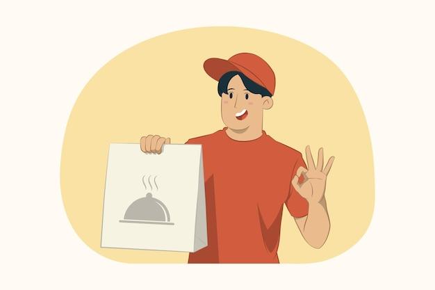Levering jongeman houdt ambachtelijke papieren pakket met eten vast en doet ok gebaar