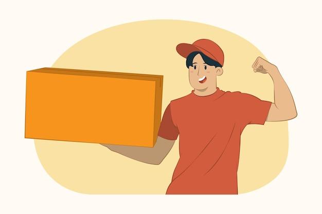 Levering jongeman houdt een grote kartonnen doos vast
