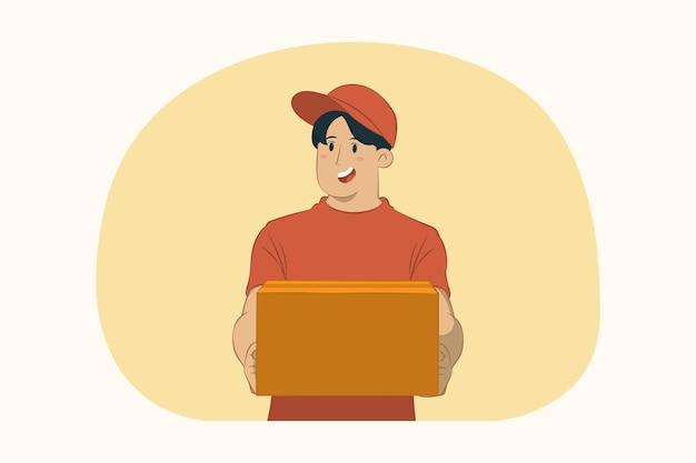 Levering jongeman houdt lege kartonnen doos