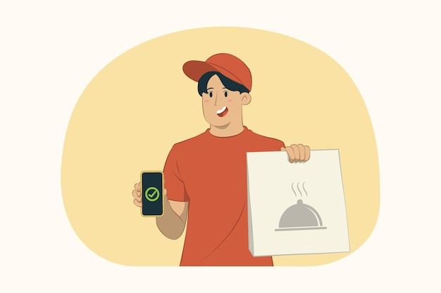 Levering jongeman houdt mobiele telefoon en ambachtelijke papieren pakket met voedsel