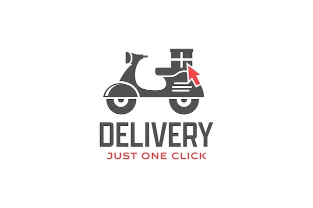 Levering klik op logo. scooter logo ontwerpsjabloon