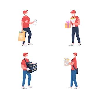 Levering koerier in masker egale kleur anonieme tekenset voedselproduct vervoerder lockdown verzending diensten geïsoleerde cartoon afbeelding