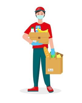 Levering koerier man met medisch beschermend masker op zijn gezicht met kartonnen doos en tas