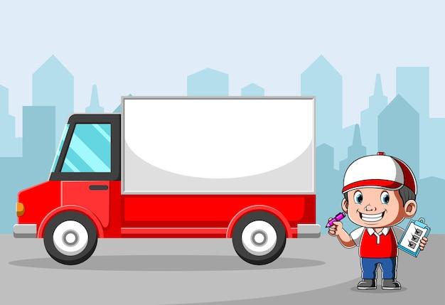 Levering koerier pakket controleren in de buurt van de wagen